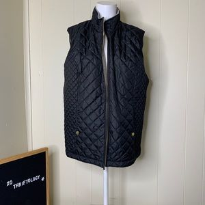 LAURA SCOTT Quilted Vest Zip Down Black Fleece XL
